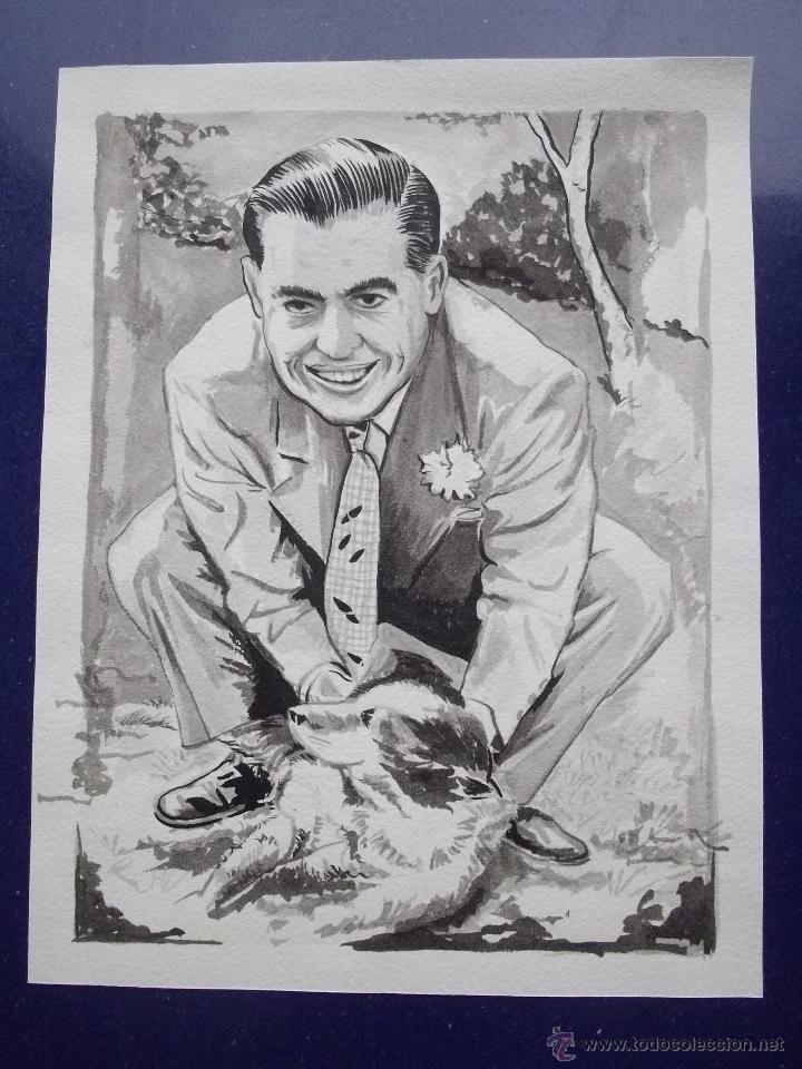 ELEGANTE DIBUJO ORIGINAL RETRATO HOMBRE CON PERRO TINTA CHINA AÑOS 30-40 ART DECO (Arte - Dibujos - Contemporáneos siglo XX)