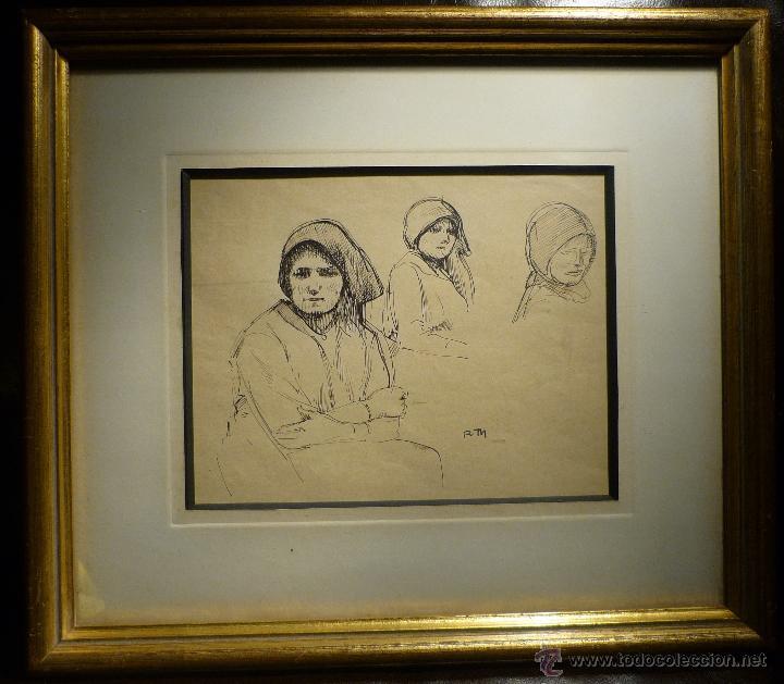 ESBOZOS DE CAMPESINAS DE RICARDO DE MADRAZO (1852-1917) (Arte - Dibujos - Modernos siglo XIX)