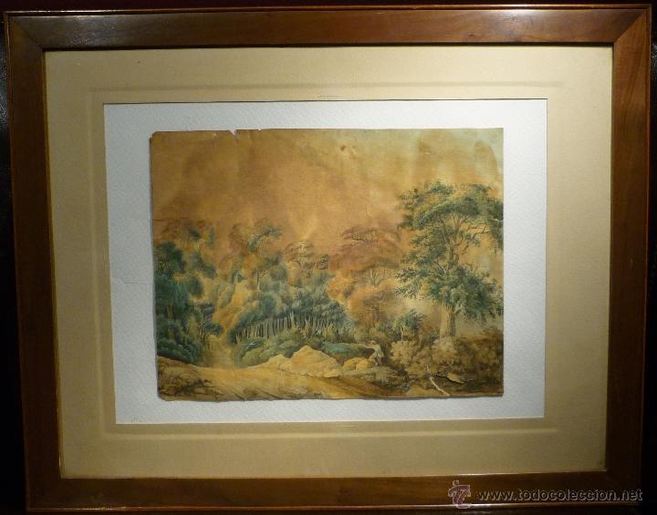 PAISAJE CON CAZADOR DE LLUIS RIGALT (1814-94) (Arte - Dibujos - Modernos siglo XIX)