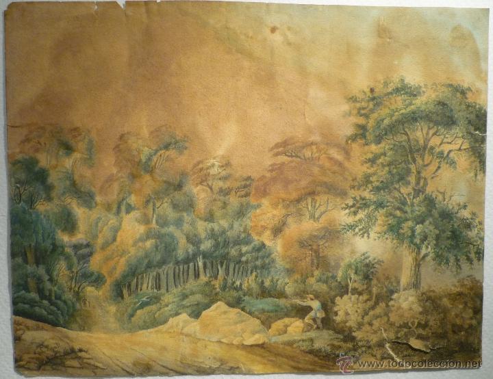 Arte: PAISAJE CON CAZADOR DE LLUIS RIGALT (1814-94) - Foto 2 - 45851560