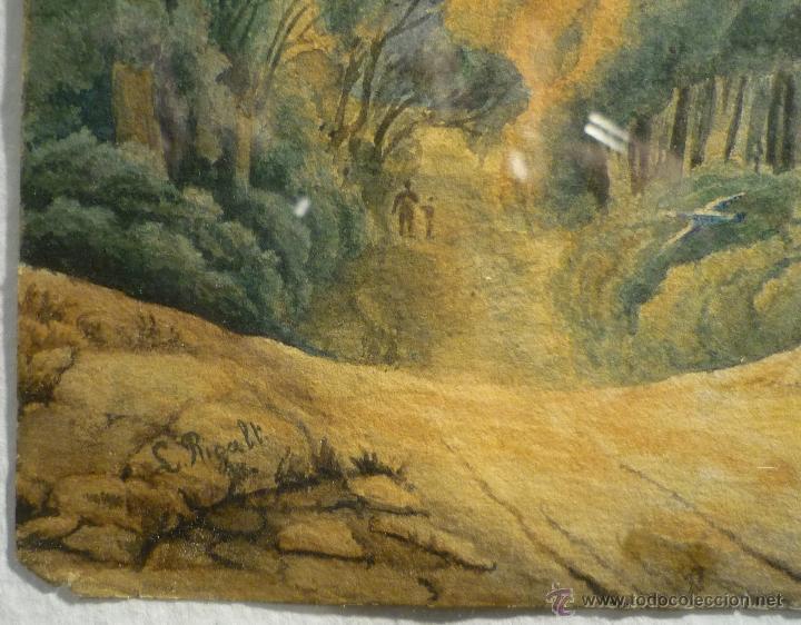 Arte: PAISAJE CON CAZADOR DE LLUIS RIGALT (1814-94) - Foto 3 - 45851560