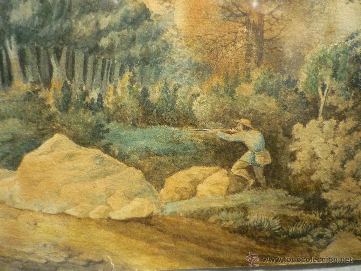 Arte: PAISAJE CON CAZADOR DE LLUIS RIGALT (1814-94) - Foto 5 - 45851560