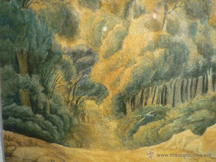 Arte: PAISAJE CON CAZADOR DE LLUIS RIGALT (1814-94) - Foto 6 - 45851560