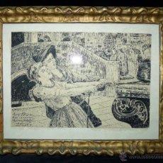 Arte: JUAN BELDA GUEROLA. TINTA CHINA SOBRE CARTULINA 23 X 16 CM. FIRMADO, FECHADO Y DEDICADO. RARO. Lote 45897956