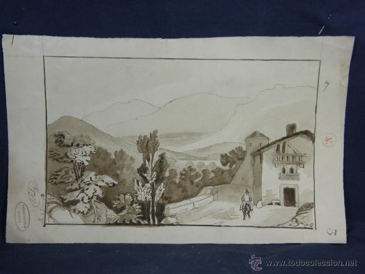 DIBUJO AGUADA TINTA AQUATINTA PAISAJE MONTAÑA 27,5X44,5CMS (Arte - Dibujos - Modernos siglo XIX)