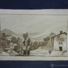 Arte: DIBUJO AGUADA TINTA AQUATINTA PAISAJE MONTAÑA 27,5X44,5CMS. Lote 45950891