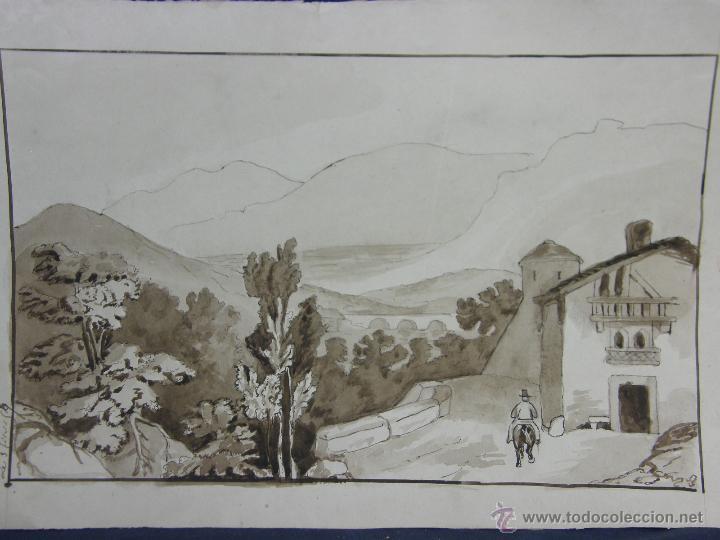 Arte: dibujo aguada tinta aquatinta paisaje montaña 27,5x44,5cms - Foto 2 - 45950891