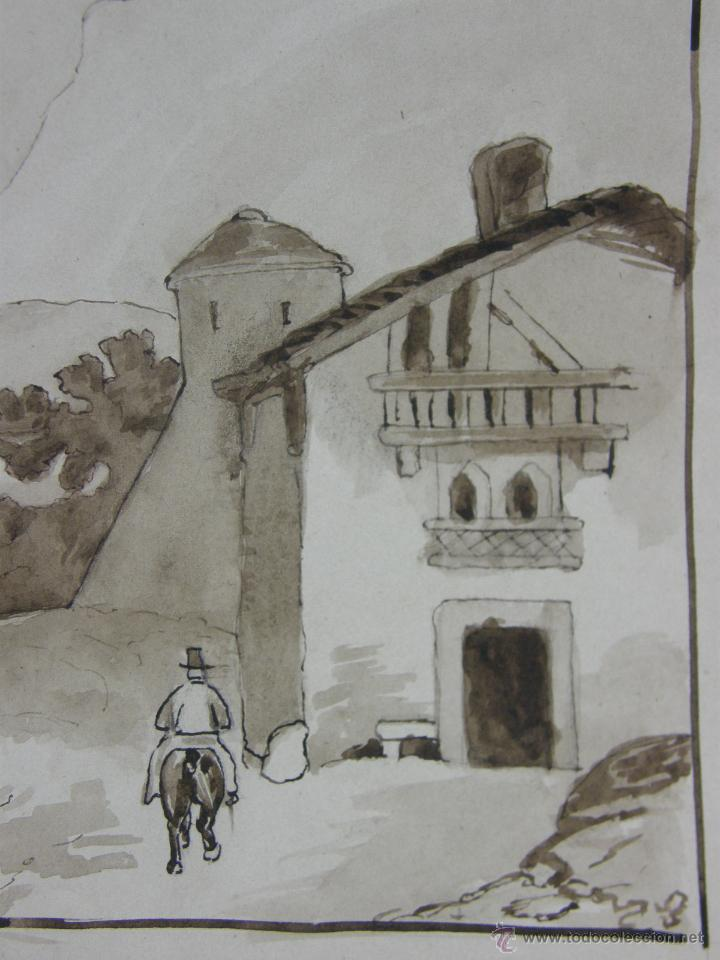 Arte: dibujo aguada tinta aquatinta paisaje montaña 27,5x44,5cms - Foto 3 - 45950891