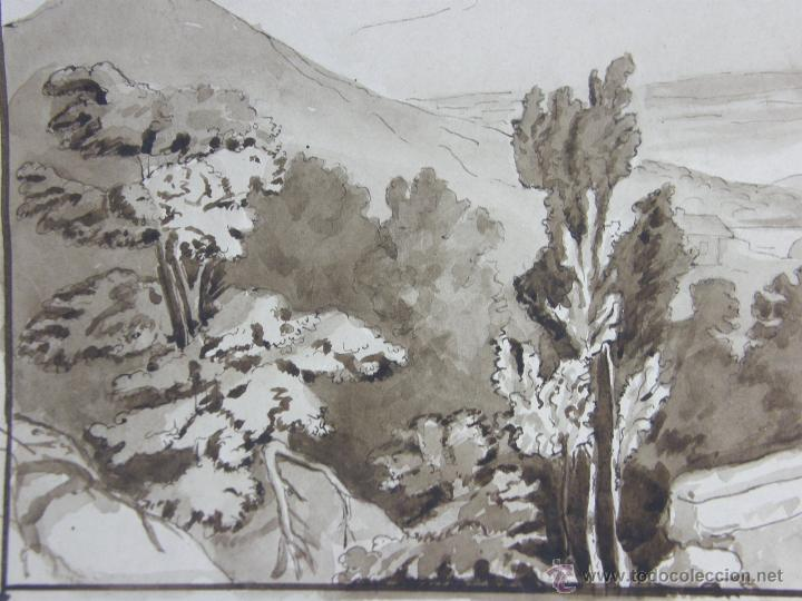 Arte: dibujo aguada tinta aquatinta paisaje montaña 27,5x44,5cms - Foto 4 - 45950891