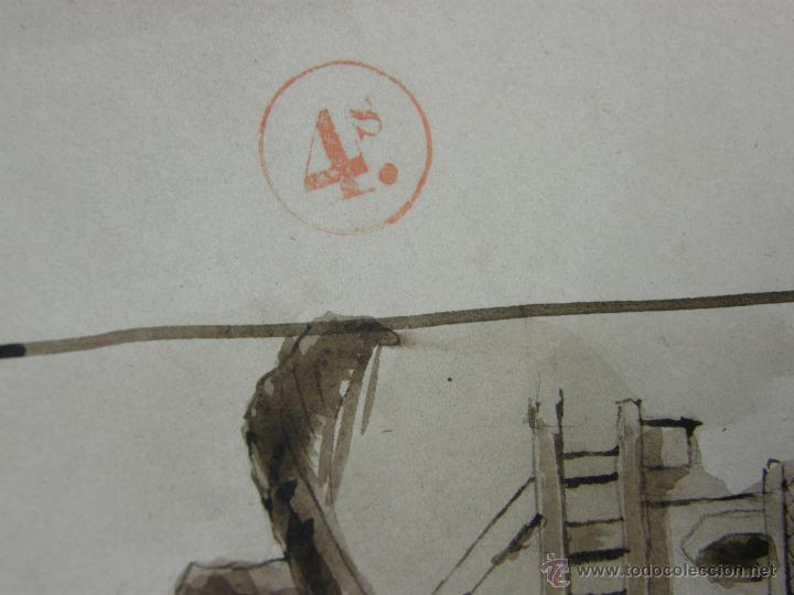 Arte: dibujo aguada tinta aquatinta paisaje montaña 27,5x44,5cms - Foto 6 - 45950891