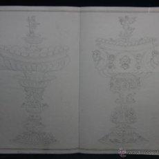 Arte: DIBUJO A TINTA DOS COPAS CENTROS ORFEBRERÍA RENACIMIENTO MEDALLONES GALLONES FFS S XIX 41X53CMS. Lote 45962966