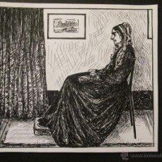 Arte: EXCELENTE DIBUJO A TINTA, LA MADRE DE WHISTLER, MIDE 12.5 X 11 CM. FOTO DETALLE.. Lote 45966289