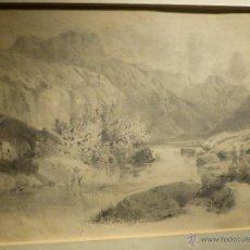 Arte: PAISAJE CON MONTSERRAT AL FONDO DE PABLO RIGALT (1778-1845). Lote 45967086