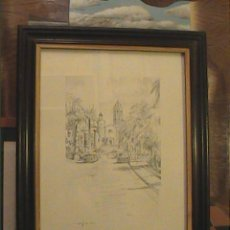 Arte - EXCELENTE DIBUJO A LÁPIZ DE SITGES .IGLESIA SANT BERTOMEU I SANTA TECLA.1962. - 45970474