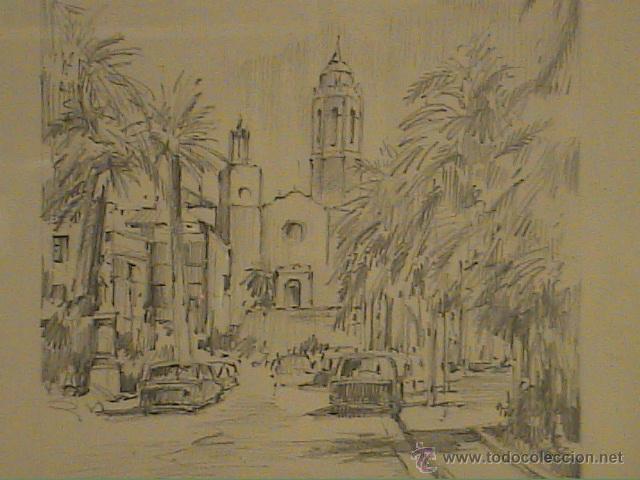 Arte: EXCELENTE DIBUJO A LÁPIZ DE SITGES .IGLESIA SANT BERTOMEU I SANTA TECLA.1962. - Foto 2 - 45970474