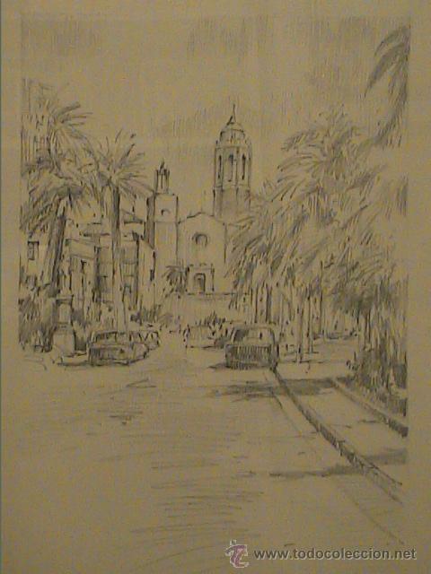 Arte: EXCELENTE DIBUJO A LÁPIZ DE SITGES .IGLESIA SANT BERTOMEU I SANTA TECLA.1962. - Foto 4 - 45970474