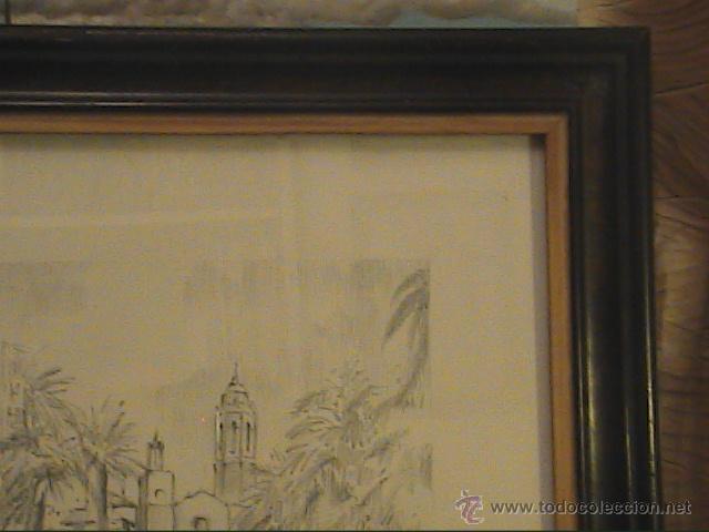 Arte: EXCELENTE DIBUJO A LÁPIZ DE SITGES .IGLESIA SANT BERTOMEU I SANTA TECLA.1962. - Foto 5 - 45970474
