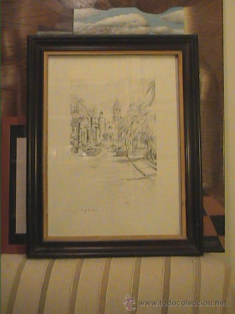 Arte: EXCELENTE DIBUJO A LÁPIZ DE SITGES .IGLESIA SANT BERTOMEU I SANTA TECLA.1962. - Foto 6 - 45970474