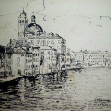 Arte: VISTA DE VENECIA, TINTA/PAPEL FIRMADO Y FECHADO EN 1953.. Lote 45973251