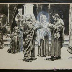 Arte: FRANZ GAILLIARD (BÉLGICA, 1861-1932) - PRESENTACIÓN DE JESÚS EN EL TEMPLO. Lote 28590646