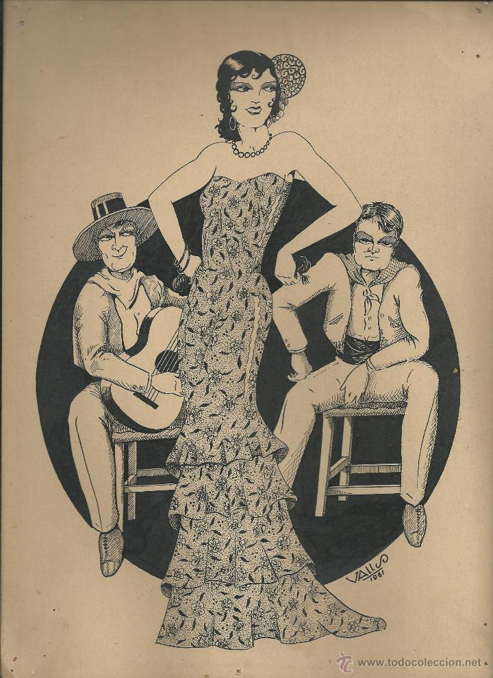 BONITO DIBUJO ORIGINAL A TINTA (1951) FIRMADO VALLS - 30 X 22 CM. (Arte - Dibujos - Contemporáneos siglo XX)