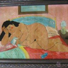 Arte: DIBUJO EROTICO SATIRICO SOBRE CRISTAL CON FIRMA ILEGIBLE SEÑORA CON JUGUETE SEXUAL DESNUDO. Lote 46067353
