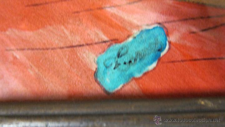 Arte: dibujo erotico satirico sobre cristal con firma ilegible señora con juguete sexual desnudo - Foto 2 - 46067353