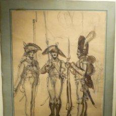 Arte: ESTUDIO DE SOLDADOS POR EUGENIO LUCAS VELAZQUEZ (1817-70). Lote 46071974
