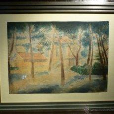Arte: JARDIN CON VIVIENDA DE MANOLO HUGUE (1872-1945). Lote 46072508