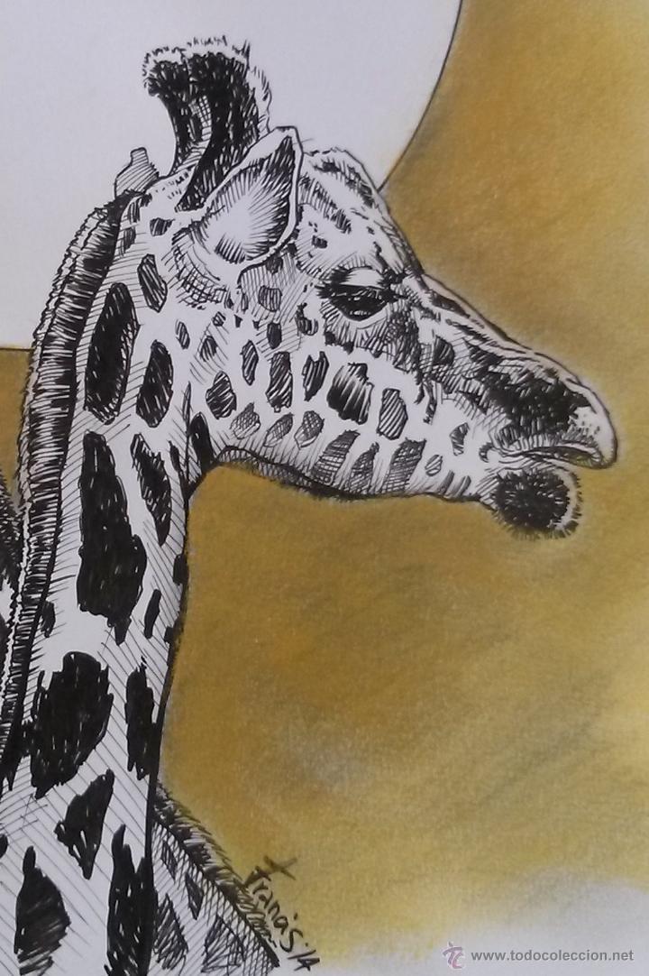 Arte: JIRAFAS DUET. Precioso Dibujo A TINTA Y PASTEL, Original firmado: FRANCIS'14. 30 x 42 cm. - Foto 2 - 46120008