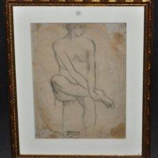 Arte: CELSO LAGAR (CIUDAD RODRIGO, 1891 - SEVILLA, 1966) DIBUJO A CARBÓN. DESNUDO FEMENINO. Lote 46186480