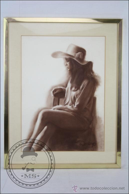 DIBUJO AL PASTEL ENMARCADO, DE DOMINGO ÁLVAREZ - CHICA PENSATIVA - MEDIDAS 64 X 50 CM (Arte - Dibujos - Contemporáneos siglo XX)
