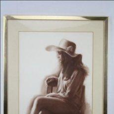 Arte: DIBUJO AL PASTEL ENMARCADO, DE DOMINGO ÁLVAREZ - CHICA PENSATIVA - MEDIDAS 64 X 50 CM. Lote 46535731