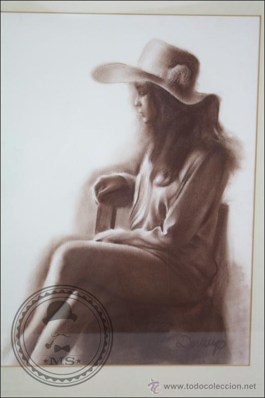 Arte: Dibujo al Pastel Enmarcado, de Domingo Álvarez - Chica Pensativa - Medidas 64 x 50 Cm - Foto 2 - 46535731