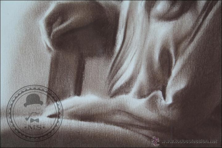 Arte: Dibujo al Pastel Enmarcado, de Domingo Álvarez - Chica Pensativa - Medidas 64 x 50 Cm - Foto 4 - 46535731