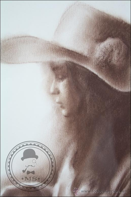 Arte: Dibujo al Pastel Enmarcado, de Domingo Álvarez - Chica Pensativa - Medidas 64 x 50 Cm - Foto 5 - 46535731