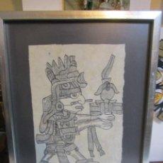 Arte: DIBUJO SOBRE PAPEL - IDOLO MEXICANO - FIRMADO Y ENMACADO. MARCO: 31,5 X 43 CMS.. Lote 46759818