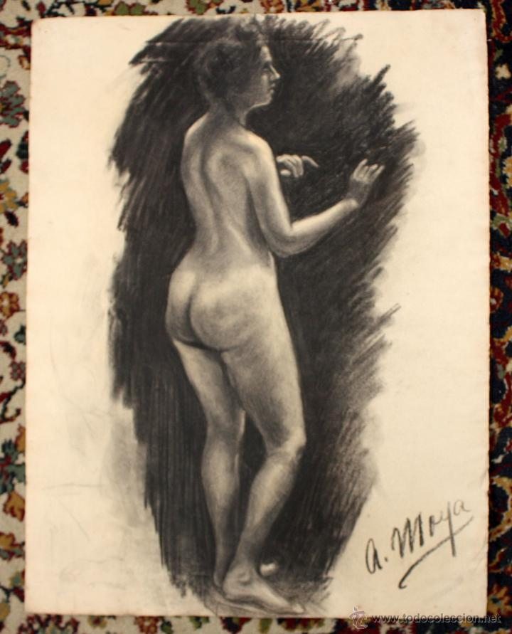 FIRMADO A. MOYA. DIBUJO A CARBON. DESNUDO FEMENINO (Arte - Dibujos - Contemporáneos siglo XX)