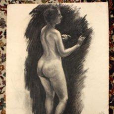 Arte: FIRMADO A. MOYA. DIBUJO A CARBON. DESNUDO FEMENINO. Lote 46765461