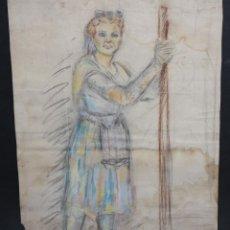 Arte: ANONIMO. DIBUJO A PASTEL. PERSONAJE FEMENINO. Lote 46780831