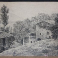 Arte: FIRMADO J. BERNADELL. DIBUJO A LAPIZ. PAISAJE DE LAS PRESAS (GIRONA). Lote 46781820