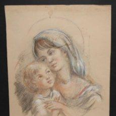 Arte: JOSEFINA TANGANELLI. DIBUJO A PASTEL. VIRGEN CON NIÑO. Lote 46783354
