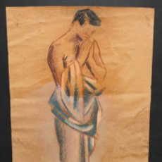 Arte: JAUME BUSQUETS I MOLLERA (GIRONA, 1904-1968) DIBUJO A PASTEL. PERSONAJE. Lote 46794738
