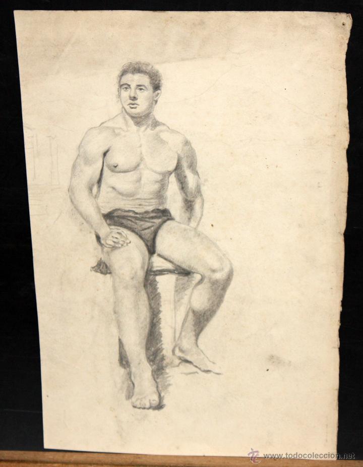 ANONIMO. DIBUJO A CARBON. PERSONAJE MASCULINO (Arte - Dibujos - Contemporáneos siglo XX)