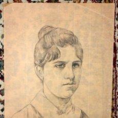 Arte: ANONIMO. DIBUJO A CARBON. RETRATO FEMENINO. Lote 47016892