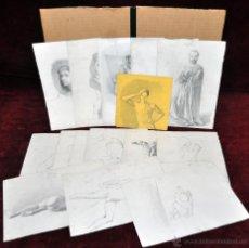 Arte: ROMÁN RIBERA CIRERA (BARCELONA, 1848 - 1935) LOTE DE 16 DIBUJOS ORIGINALES DE VARIAS TEMATICAS. Lote 47041554