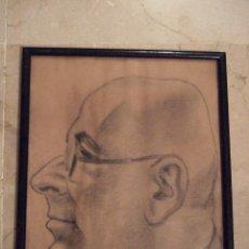 Arte: DIBUJO A LAPIZ O CARBONCILLO - CABEZA DE HOMBRE - ENMARCADO - FIRMADO - 30X24. Lote 47134736