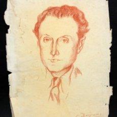 Arte: GUILLERMO BERGNES SOLER (BARCELONA, 1887-SITGES, 1975) DIBUJO A PASTEL. RETRATO MASCULINO. Lote 47137379