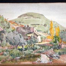 Arte: ILEGIBLE. TECNICA MIXTA SOBRE PAPEL FECHADO DEL AÑO 1924. PAISAJE. Lote 47180865