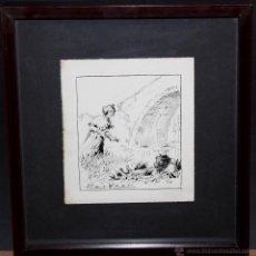 Arte: CARLOS BECQUER DOMINGUEZ (BARCELONA, 1889-1968) DIBUJO A TINTA PARA ILUSTRACIÓN. Lote 47184628